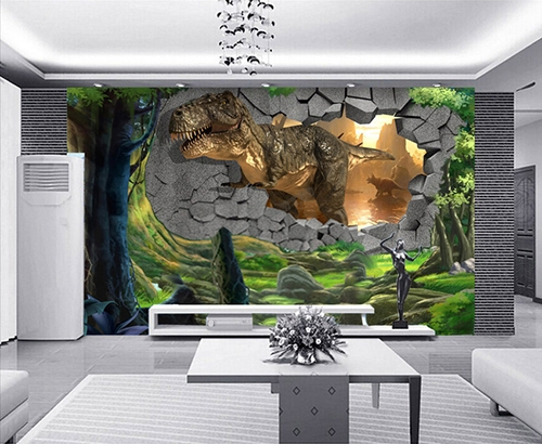 tapisserie num rique papier peint 3d poste g ant mural dinosaure sort du cr tac la boutique. Black Bedroom Furniture Sets. Home Design Ideas