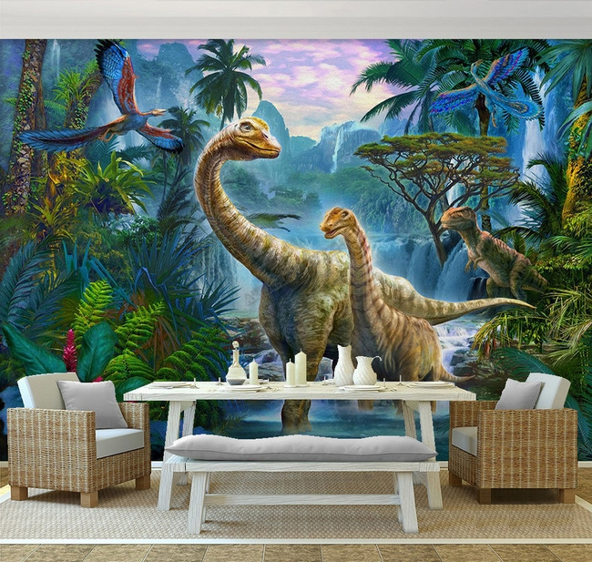 d coration murale tapisserie num rique papier peint panoramique poste g ant mural les dinosaures. Black Bedroom Furniture Sets. Home Design Ideas