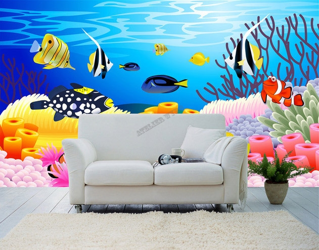 Wallpaper ocean fish d coration chambre b b paysage fond for Decoration chambre ocean