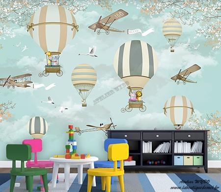 Montgolfiere Avion Animaux Decoration Murale Panoramique Xxl Bebe