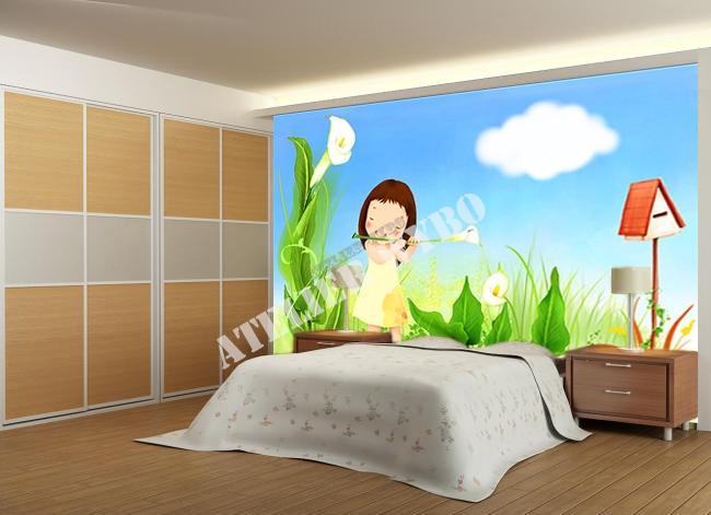 dessin d'artiste graphiste,enfant,petite fille,fleur blanche,arome,musique