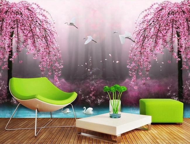 tapisserie num rique paysage fantaisie les cygnes avec les. Black Bedroom Furniture Sets. Home Design Ideas