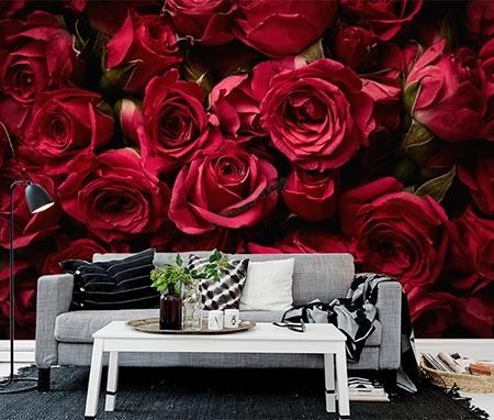 revêtement mural textile,papier peint,papier peint soie,papier peitn intissé,rose rouge,papier peint fleur rouge,tapisserie florale rose rouge,poster géant rose rouge,sticker mural chambre rose,tête de lit rose rouge,papier peint panoramique