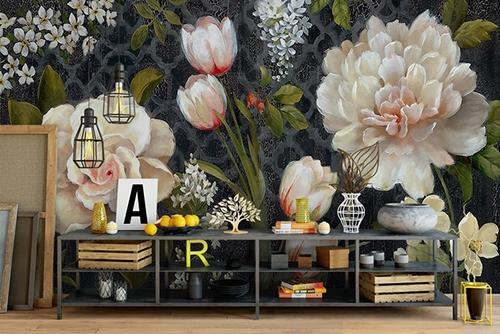 papier peint fleurs xxl. Black Bedroom Furniture Sets. Home Design Ideas