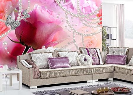 D coration murale romantique mariage papier peint photo for Decoration murale rose