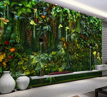 mur v g tal plantes tropicale papier peint personnalis. Black Bedroom Furniture Sets. Home Design Ideas