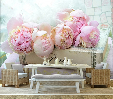 Decoration Florale Papier Peint Photo Panoramique Les Pivoines Sur