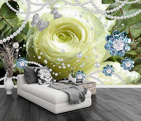 d coration murale romantique mariage papier peint photo rose blanche tapisserie florale papier. Black Bedroom Furniture Sets. Home Design Ideas