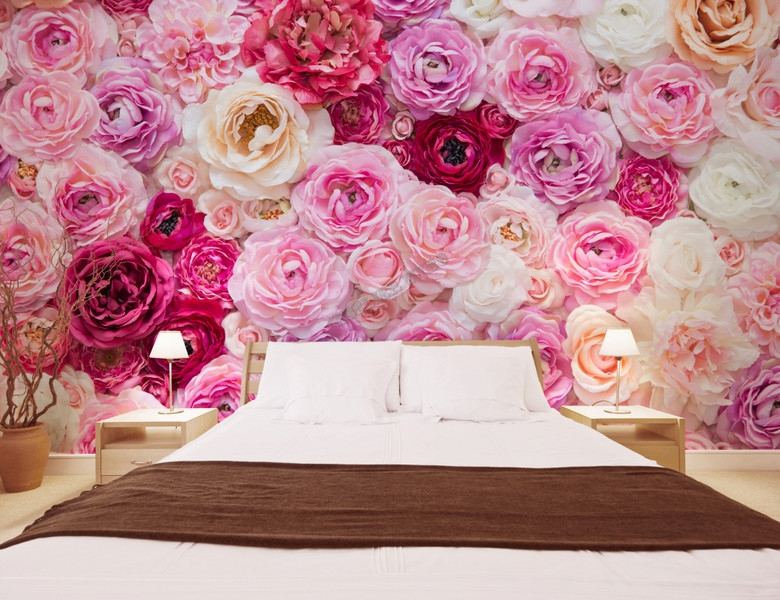 papier peint romantique fleurs. Black Bedroom Furniture Sets. Home Design Ideas
