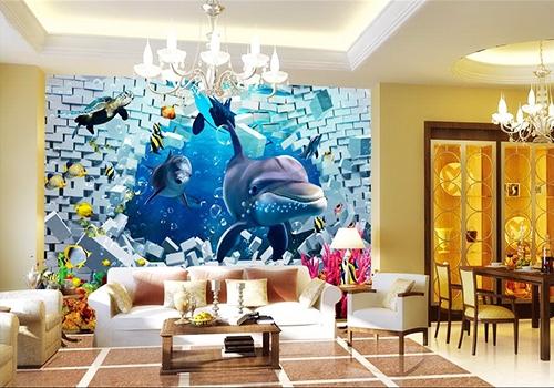 trompe l'oeil,fond marin,dauphin,mur,poisson,corail,tortue,orque