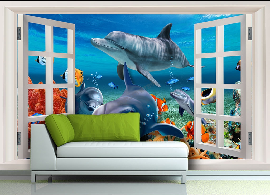 poster mer tropicale 3d fen tre fond marin dauphin papier peint sol 3d. Black Bedroom Furniture Sets. Home Design Ideas