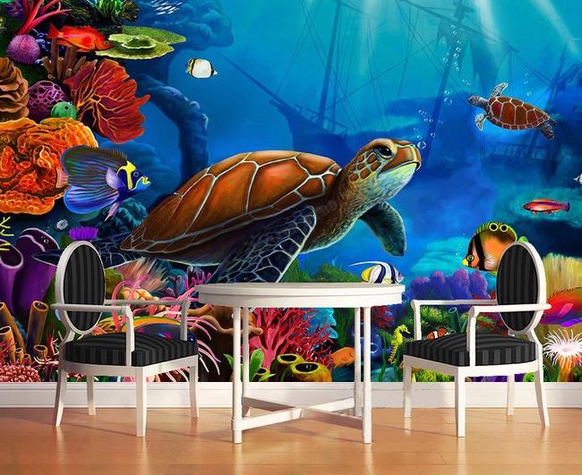 Papier peint photo fond marin chambre d 39 enfant la tortue for Poster xxl chambre