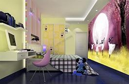 danse, papier peint pour fille, papier peint sur mesure, papier peint personnalisé, tapisserie numérique, papier peint enfant, nuit, fille, lune, violet, arbre