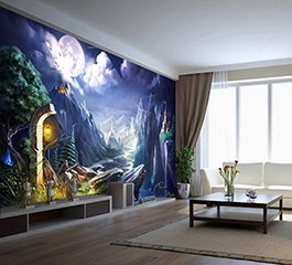 design wallpaper, papier peint design, papier peintpersonnalisé, jeu vidéo, nuit,montagne, fantaisie, fantasy, lumière, volcan, château
