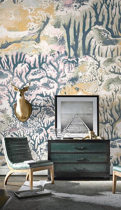 papier peint japonais vintage salon séjour chambre à coucher paysage enneigé de la montagne arbres roses et jaunes tapisserie confection sur mesure selon différent format design sur mesure