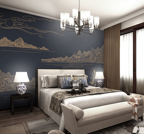 papier peint japonais design abstrait paysage zen montagne rivi re bateau sur fond bleu fonc. Black Bedroom Furniture Sets. Home Design Ideas