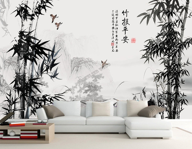 pinture l 39 encre de chine papier peint photo personnals. Black Bedroom Furniture Sets. Home Design Ideas