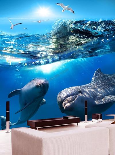 Panneau 3d PVC imprimé photoréaliste salle de bain dauphin,dalle 3d étanche parois de douche océan dauphin,lambris 3d étanche photo imprimée salle de bain dauphin,crédence salle de bain PVC imprimé paysage océan dauphin,papier peint 3d séjour océan dauphin,poster géant bureau fond marin dauphin,sticker mural 3d mur baignoire mer dauphin