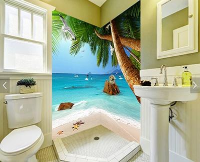 Vente panneau mural 3D salle de bain photo imprimée plage tropicale,crédence 3d salle de bain sur mesure cocotier dauphin,revêtement étanche PVC imprimé plage Seychelles mur de baignoire,lambris PVC imprimé paysage Maldives paroi de douche,dalle murale 3D photo imprimée paysage tropical île Maurice