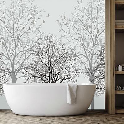 rénovation salle de bain panneau étanche 3D imprimé,crédence 3d salle de bain photo imprimée arbre oiseau,lambris pvc imprimé mur baignoire arbre noir et blanc,dalle murale pvc imprimé noir et blanc fond de douche,revêtement étanche imprimé arbre oiseau salle de bain