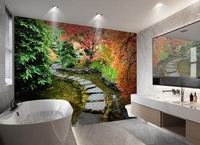 aménagement décoration salle de bain zen panneau étanche vinyle mur de baignoire imprimé haute définition photoréaliste jardin japonais feuilles d'érable rouge orangées,dalle murale pvc décoratif habillage parois de douche paysage trompe l'oeil 3D jardin paisible pas japonais dans bassin arbre d'automne