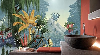 fresque murale étanche personnalisé ambiance jungle bananier doré fleurs exotiques,décoration salle de bain moderne reproduction haute définition tableau d'artiste ancien sur panneau pvc épais avec couche d'usure antibactérien et anti tache facile à entretenir,mur de baignoire étanche lame vinyle imprimé sur mesure paysage tropical saule pleureur palmier arbre fleur exotique