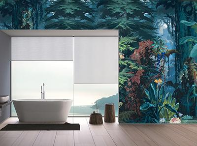 idée de décoration salle de bain moderne fresque murale étanche jungle bleue,reproduction tableau d'artiste sur panneau PVC personnalisé habillage paroi de douche mur de baignoire impression numérique HD arbres et fleurs tropicales,revêtement étanche salle de bain sur mesure forêt tropicale nénuphar bananier fleur exotique arbre conifère
