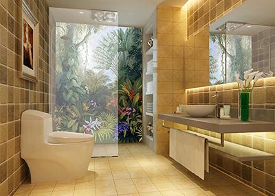 salle de bain tropical panneau étanche paroi de douche motif imprimé HD arbres tropicaux plantes et fleurs exotiques,habillage décoratif cabine de douche personnalisé panneau PVC imprimé reproduction œuvre d'artiste arbre du voyageur orchidée oiseau de paradis dans la jungle,rénovation salle de bain moderne plaque PVC impression HD mur de baignoire paysage tropical arbre liane palmier hélicolia orchidée
