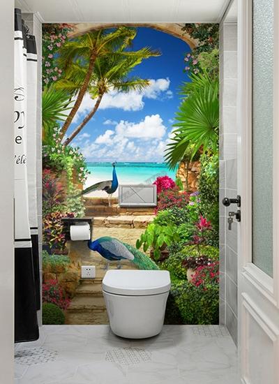 décoration salle de bain toilettes ambiance tropicale panneau mural vinyle étanche décoratif photo imprimée paysage plage tropicale paon bleu jardin floral palmier cocotier rosier plante tropicale