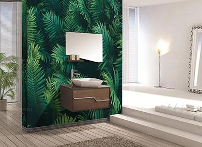 mur végétal feuilles de fougère dans une salle de bain panneau mural étanche décoratif personnalisé en PVC imprimé,idée rénovation salle de bain originale panneaux muraux sur mesure design tropical photoréaliste jolies fougères pour habiller parois de douche et mur de baignoire