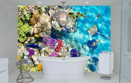 achat panneau étanche décoratif en PVC pour salle de bains cabine de douche mur de baignoire,fresque murale étanche personnalisé paysage fond marin poissons tropicaux coraux multicolores raie étoile de mer