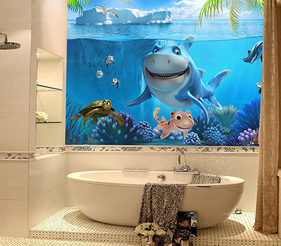 rénovation carrelage salle de bain remplacé par panneau étanche en PVC imprimé photoréaliste paysage fond d'océan drôle requin et tortue avec poissons tropicaux et les coraux,décoration salle de bains enfant fresque mural étanche dessin animé requin mer tropicale