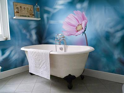 Lambris décoratif salle de bains personnalisé photo imprimée haute définition fleur de marguerite dans le pré,mur de baignoire imperméable fresque murale étanche fleur rose sur fond bleu,panneau PVC floral sur mesure cabine de douche mur de lavabo