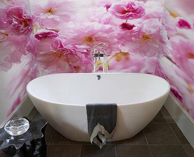 Décoration salle de bains fresque murale étanche fleur rose,panneau mural PVC décoratif cerisier en floraison,revêtement vinyle imprimé sur mesure pour parois de douche et murs de baignoire,rénovation salle de bains et toilettes lino mural esthétique personnalisé motif imprimé photo réaliste fleurs de cerisier