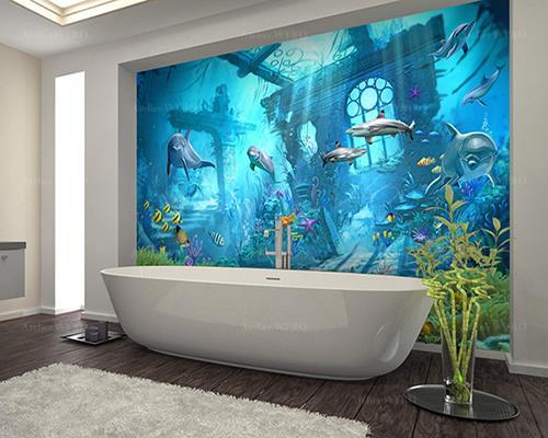 Décoration salle de bains enfant et ados thème océan ville engloutie et animaux marins ton bleu,création de panneau mural étanche décoratif personnalisé photo imprimée sur mesure habillage esthétique pour mur de baignoire et cabine de douche,dauphins requins méduse tortue de mer et poissons dans cité mystérieuse sous marine