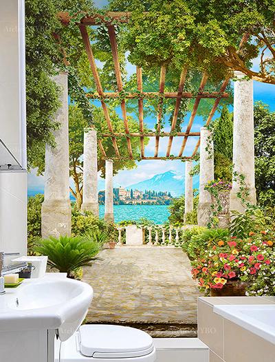 acheter poster géant étanche personnalisé paysage 3d mur de lavabo pour salle de bain et toilettes,panneau mural décoratif en PVC photo imprimée sur mesure pour mur de baignoire magnifique paysage d'Italie effet de profondeur