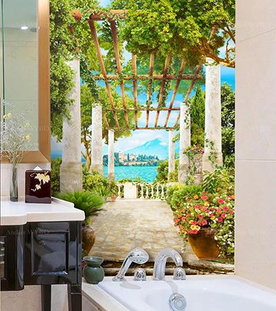 Vente papier peint panoramique étanche salle de bains paysage au bord du lac Majeur en Italie effet trompe l'œil 3d îles de Borromées vues depuis terrasse entourée de végétation et fleurs