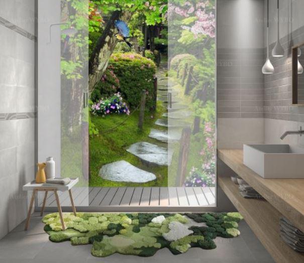 rénovation carrelage salle de bains panneau étanche imprimé paysage 3D photo-réaliste jardin japonais,revêtement mural décoratif cabine de douche paysage naturel trompe l'œil 3D pas japonais jardin sous la pluie fleurs et oiseaux
