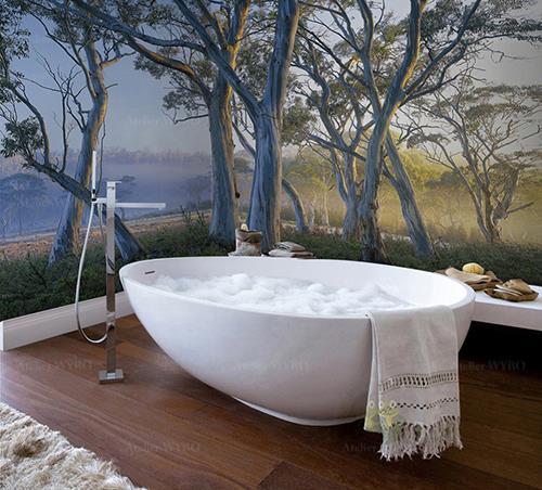 Lambris géant grande largeur sur mesure salle de bains douche photo imprimée haute définition paysage nature arbres dans la savane,panneau étanche personnalisé cabine de douche mur de baignoire et mur de lavabo paysage d'Afrique arbres gris et végétation dans la brume de la savane