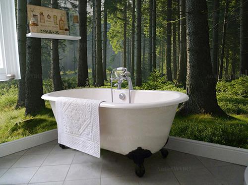 rénovation salle de bains moderne crédence géante photo imprimée HD qualité photoréaliste paysage nature forêt arbres herbes buissons soleil brouillard,décoration cabine de douche contemporaine panneau mural étanche décoratif paysage de la forêt couleur verte pleine de vitalité