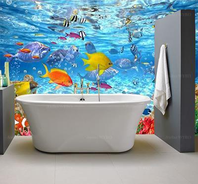 Rénovation salle de bains moderne remplacer anciens carrelages de la douche par panneau étanche décoratif en vinyle imprimé qualité HD photoréaliste,magnifique paysage fond marin poissons tropicaux et coraux multicolores dans la douche