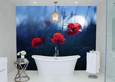 Acheter panneau mural étanche salle de bains sur mesure habillage esthétique en PVC pour mur de baignoire mur de lavabo et cabine de douche,crédence décorative grand format personnalisée salle de bains photo imprimée haute définition fleur rouge de coquelicot dans le pré en pleine lune fond bleu nuit