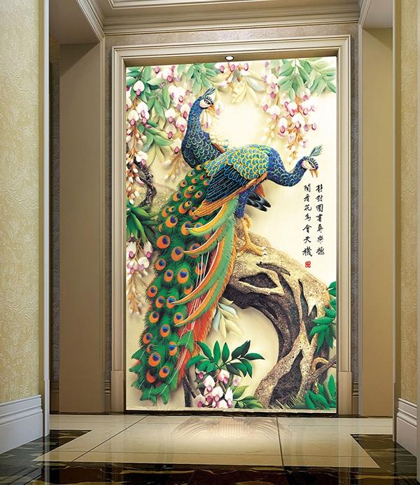 papier peint floral les paons sur l 39 arbre avec les fleurs. Black Bedroom Furniture Sets. Home Design Ideas