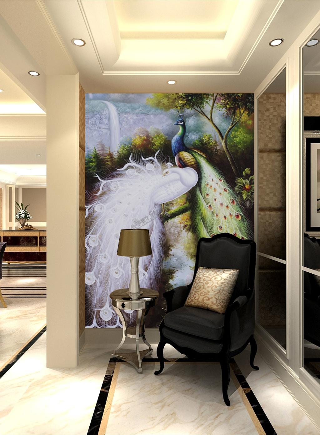 papier peint, papier peint personnalisé, tapisserienumérique, paon, arbre