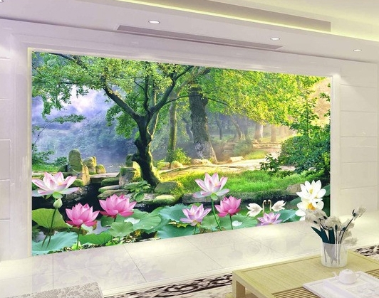 tapisserie zen papier peint photo paysage personnalis lotus dans la foret papier peint sol 3d. Black Bedroom Furniture Sets. Home Design Ideas