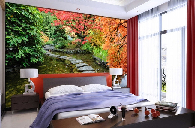 tapisserie zen papier peint photo paysage personnalis effet 3d jardin japonais papier peint. Black Bedroom Furniture Sets. Home Design Ideas