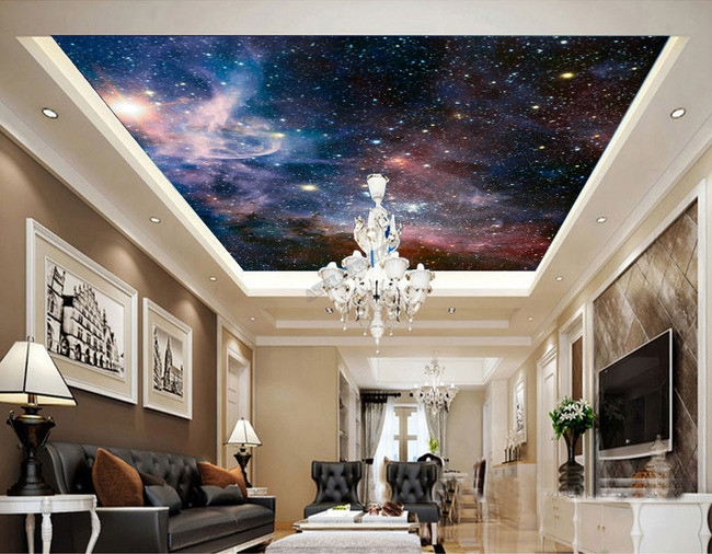 plafond tendu fataisie dans l 39 espace papier peint sol 3d. Black Bedroom Furniture Sets. Home Design Ideas