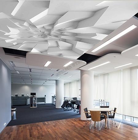 D coration d 39 int rieur espace bureau plafond 3d imitation for Fond plafond platre