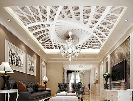 plafond tendu translucide imprim sur mesure d coration d 39 int rieur trompe l 39 oeil 3d trou dans. Black Bedroom Furniture Sets. Home Design Ideas