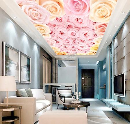 Decoration Du Plafond plafond tendu translucide imprimé décoration d'intérieur fleur